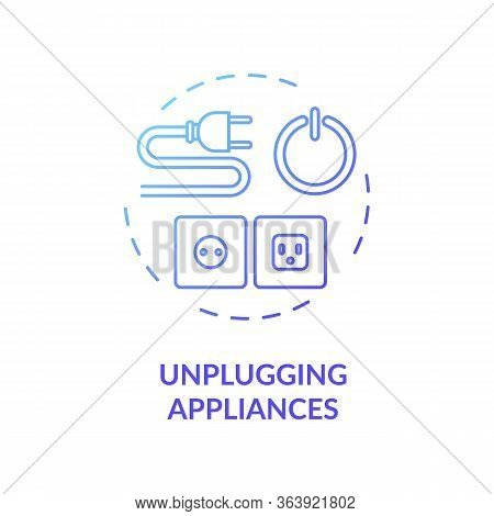 Unplugging Appliance Blue Concept Icon. Cable And Outlet Safety. Domestic Electricity Consumption. H