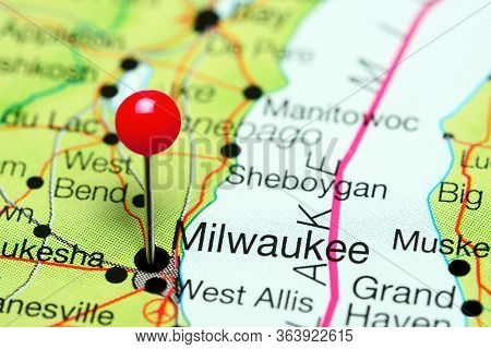 Milwaukee Pinned On A Map Of Wisconsin, Usa