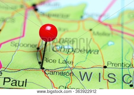 Cameron Pinned On A Map Of Wisconsin, Usa