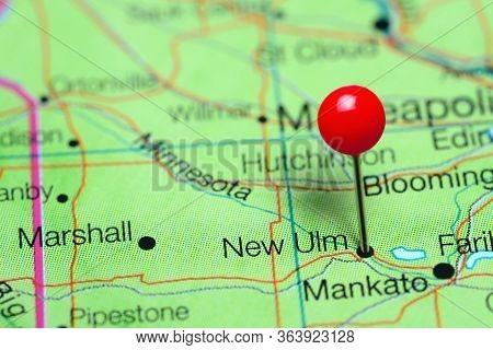 New Ulm Pinned On A Map Of Minnesota, Usa