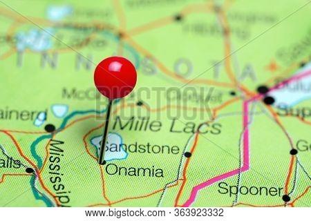 Onamia Pinned On A Map Of Minnesota, Usa