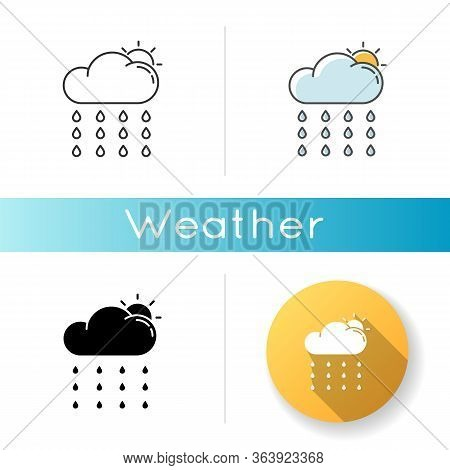 Drizzle Icon. Linear Black And Rgb Color Styles. Rainy Season, Summer Rain, Meteorology. Weather For