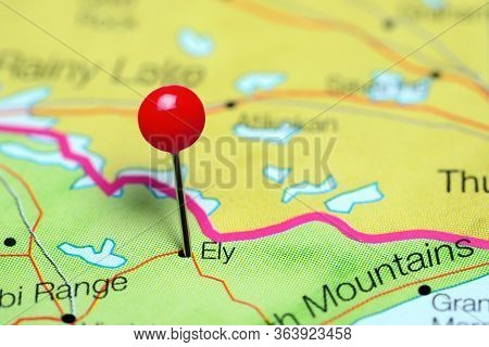 Ely Pinned On A Map Of Minnesota, Usa