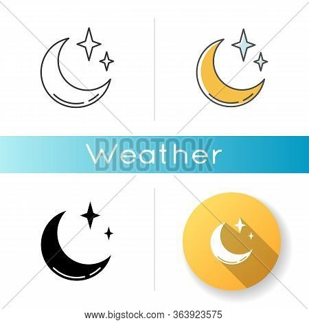 Clear Night Sky Icon. Linear Black And Rgb Color Styles. Meteorology, Weather Forecasting Science. S