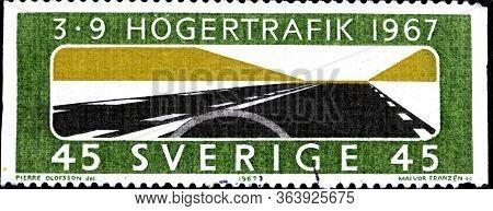 02 10 2020 Divnoe Stavropol Krai Russia The Postage Stamp Sweden 1967 Change To Right-hand Traffic V