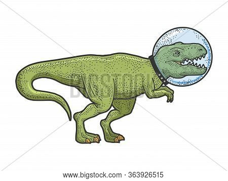 Astronaut Cartoon Tyrannosaurus Dinosaur Animal In Glass Helmet Color Sketch Engraving Vector Illust