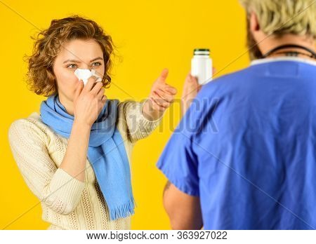 Instruction Taking Medicines. Girl Viral Disease. Medical Check Up. Doctor And Patient At Hospital.