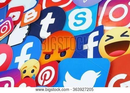Kiev, Ukraine - November 27, 2019: Background Of Famous Social Media Icons Such As: Facebook, Twitte