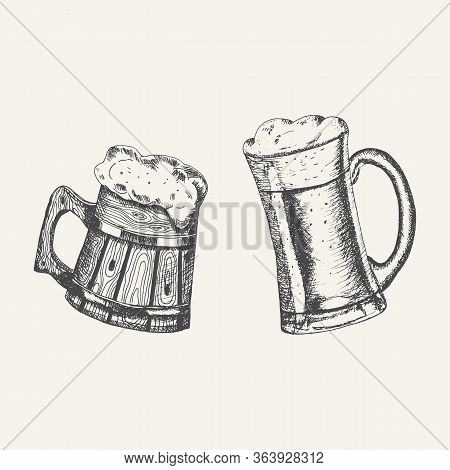 Glass And Wooden Mugs With Beer And Beer Foam Overflowing Over The Edge On White Background. Hand Dr