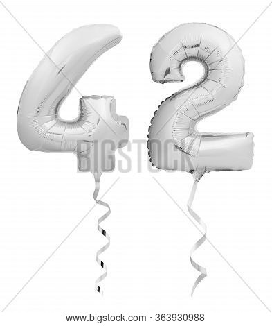 Silver Number Forty Two 42 Made Of Inflatable Balloon With Ribbon On White