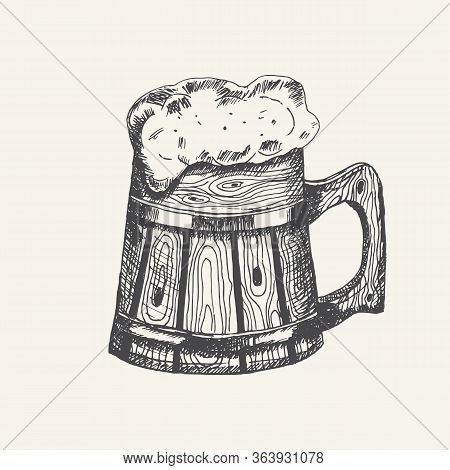 Wooden Mug With Beer And Beer Foam Overflowing Over The Edge Isolated On White Background. Hand Draw