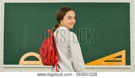 My Backpack Is Just Right. Girl In School Classroom Copy Space. School Project. Clever Teenager Stud