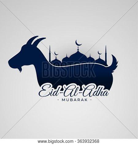 Eid Al Adha Mubarak Background With Goat And Mosque Design Illustration
