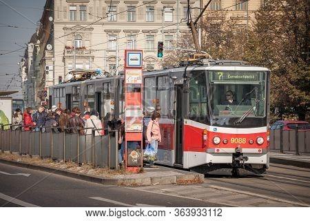 Prague, Czechia - October 31, 2019: Prague Tram, Or Called Prazske Tramvaje, Tatra Kt8d5 Model, On P