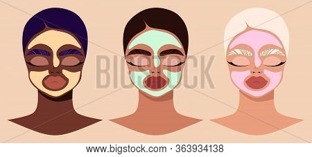 Female Faces And Beauty Cosmetic Masks. Women Wearing Cosmetic Masks. Modern Hand-drawn Vector Illus