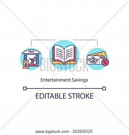 Entertainment Savings Concept Icon. Cost Effective Recreation, Inexpensive Amusement Idea Thin Line