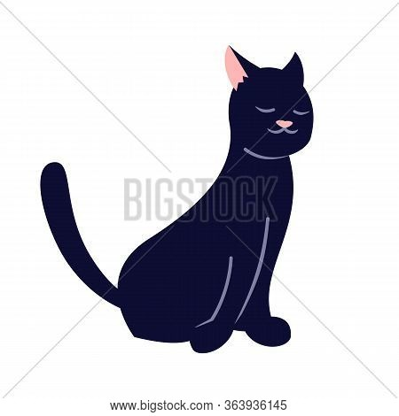 Sleepy Black Cat Semi Flat Rgb Color Vector Illustration. Cute Kitten, Adorable Domestic Pet Isolate