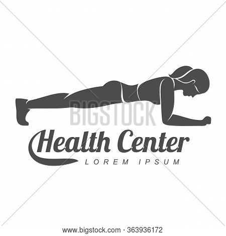 Workout Logo. Fitness, Aerobic, Health Center And Workout Exercise In Gym. Vector Illustration Of Wo