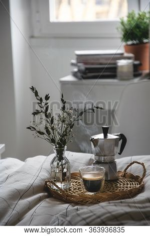 Working Studying From Home, Hot Coffee In Bed And Table With Books
