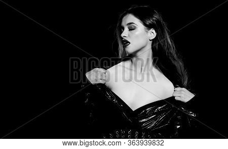 Because You Are Sexy. Sexy Woman Black Background. Sensual Woman With Sexy Red Lips Makeup. Beauty M