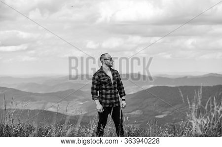 Achieve Freedom. Free And Wild. Value Of Freedom. Self Sufficient. Man Stand On Top Of Mountain. Hik