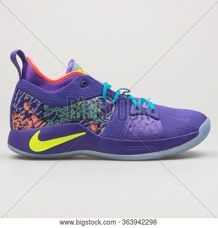 Vienna, Austria - February 19, 2018: Nike Pg 2 Mm Purple Sneaker On White Background.