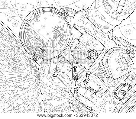 Abstract Vector Space Cosmonaut. Coloring Page For Adults. Outline Style Astronomy Illustration. Str