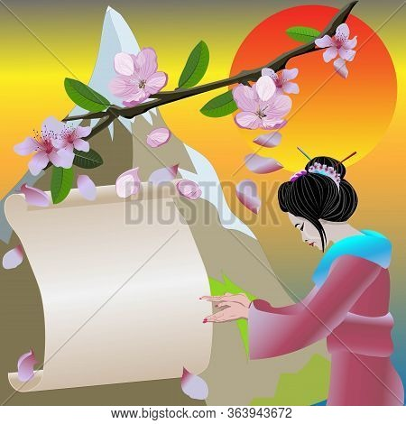 Vector Geisha With Poster And Traditional Japanese Nature Background Invitation Banner