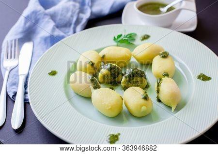 Handmade Italian Pasta Gnocchi With Pesto Sauce