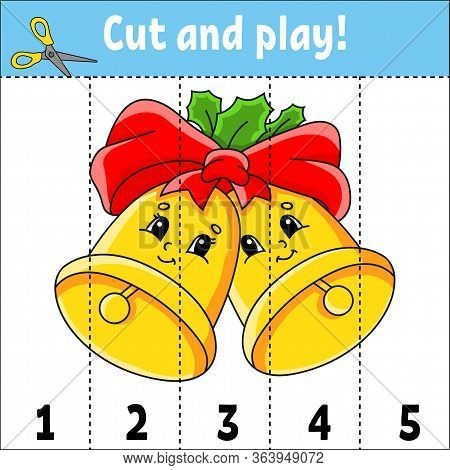 Learning Numbers 1-5. Cut And Play. Christmas Bells. Education Worksheet. Game For Kids. Color Activ