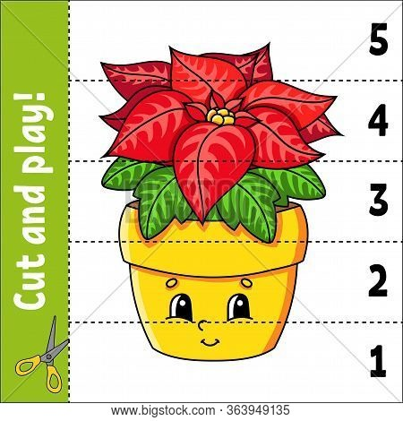 Learning Numbers 1-5. Cut And Play. Poinsettia Flower. Education Worksheet. Game For Kids. Color Act
