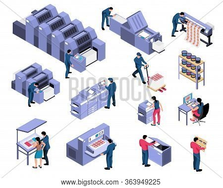 Polygraphy Isometric Set Of Professional Equipment For Various Types Of Printing With Workers Servic