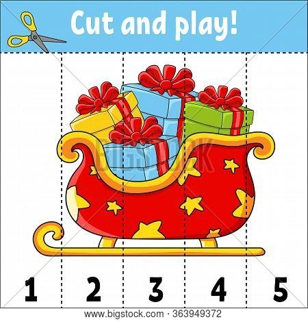 Learning Numbers 1-5. Cut And Play. Christmas Sleigh. Education Worksheet. Game For Kids. Color Acti