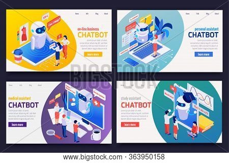 Chatbot Messenger Concept 4 Isometric Web Banners Set With Personal Medical Financial Business Study