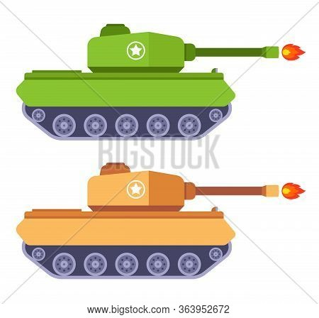 A Set Of Tanks That Fire A Cannon. Flat Vector Illustration Of Military Equipment.