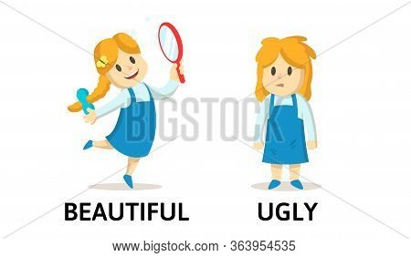 Words Beautiful And Ugly Textcard With Text Cartoon Characters. Opposite Adjectives Explanation Card