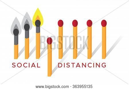 Illustration Of Matchsticks To Simulate Social Distancing Can Prevent Spreading Diseases