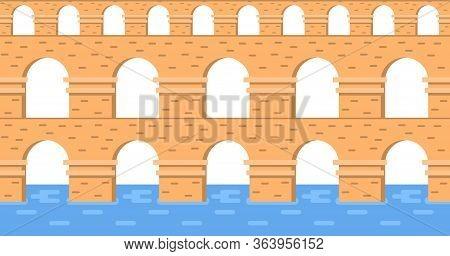 Stone Bridge Aqueduct Vector. City Architecture Element And Ancient Bridge-construction Across The R