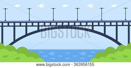 Metal Bridge Vector. City Architecture Element And Bridge-construction Across The River With Carriag