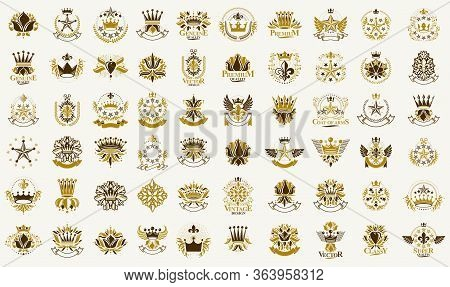 Classic Style Crowns And Stars Emblems Big Set, Ancient Heraldic Symbols Awards And Labels Collectio