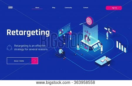 Retargeting Or Remarketing Concept In Isometric Design. Landing Page Header Or Banner. Business Meth