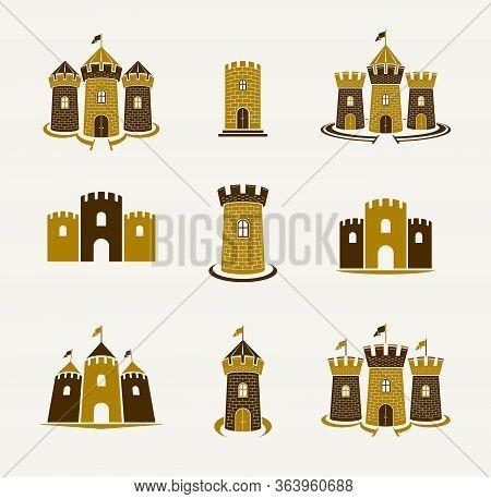 Fortresses Emblems Vector Emblems Big Set, Castles Heraldic Design Elements Collection, Classic Styl