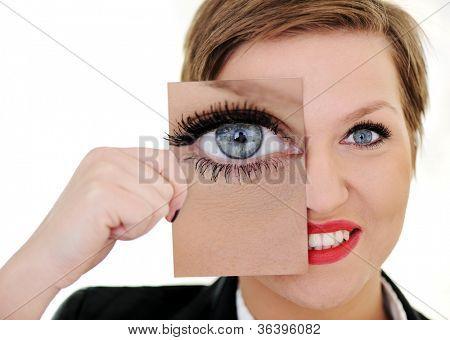Woman with big eye concept
