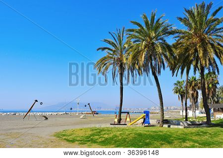 A view of El Palo Beach in Malaga, Spain