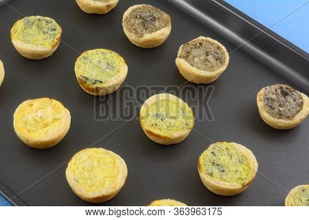 Frozen Mini Bite-size Spinach Florentine, Cheese And Mushroom Quiches On Nonstick Baking Pan
