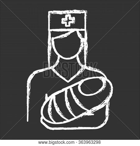 Pediatrics Chalk Icon. Nurse, Baby. Doctor Carrying Infant. Childcare. Premature Newborn Help. Physi