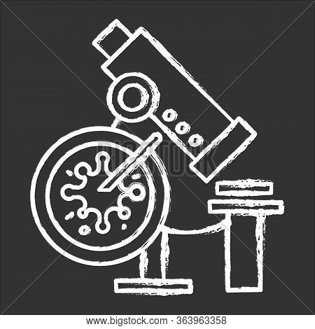 Infection Test Chalk Icon. Medical Procedure. Blood Culture Test. Microscope With Sample Examination