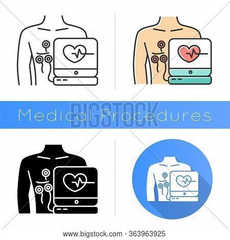 Electrocardiogram Icon. Heart Disease Examination. Pulse Rate On Screen. Cardiology, Cardiograph. Me