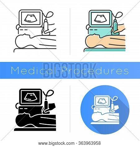 Ultrasound Diagnostics Icon. Ultrasonography. Medical Procedure. Healthcare Services. Patient Chest