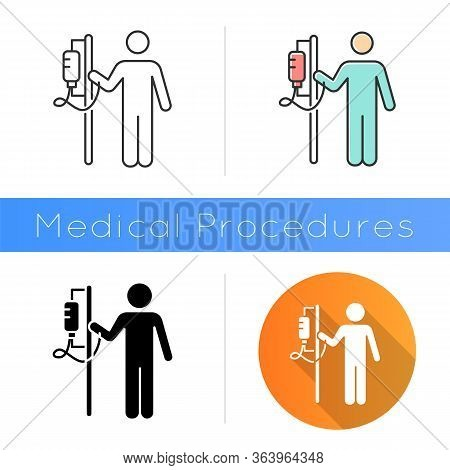 Dropper Icon. Medical Procedure. Healthcare Services. Patient With Drip. Hospitalization. Infusion.